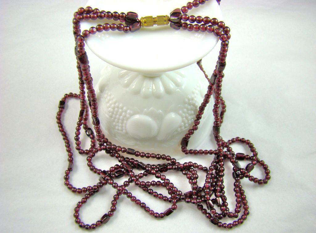 Garnet Bead Triple Strand Necklace