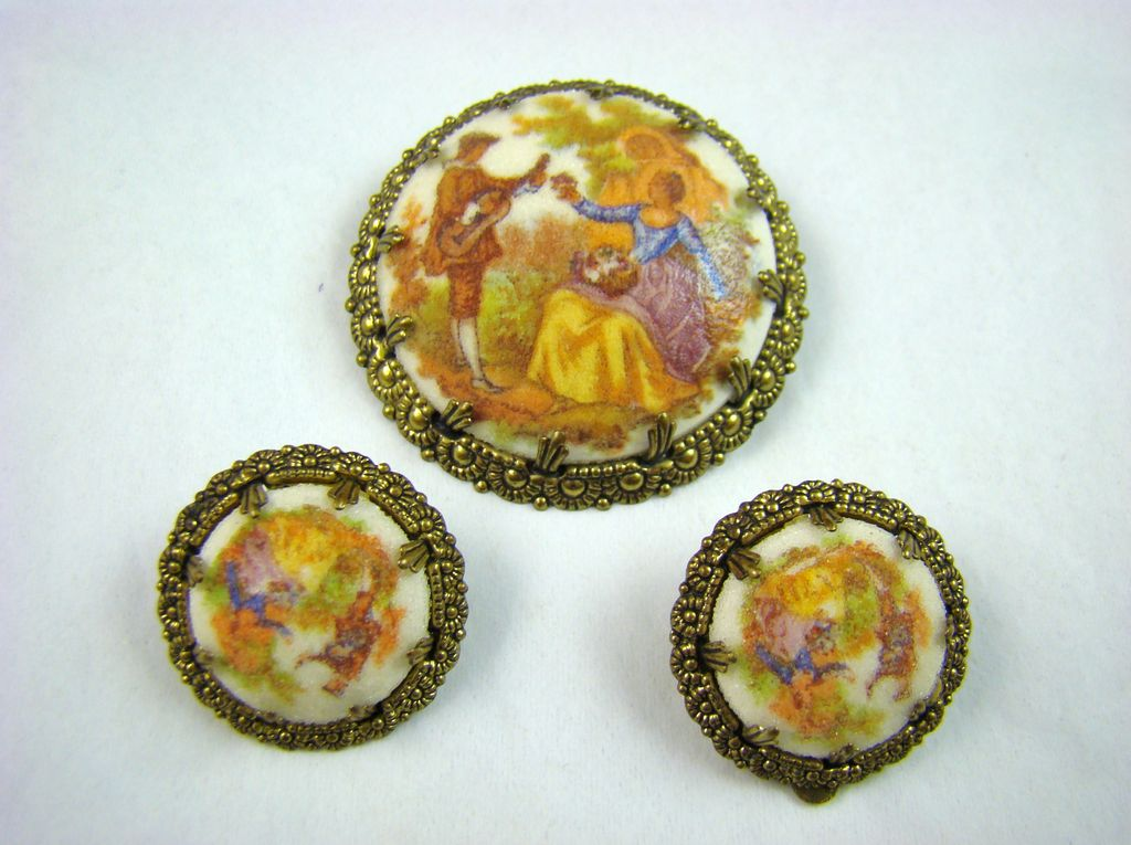 Eloxal Western Germany Sugared Porcelain Demi Parure