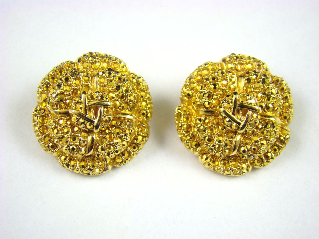 Glittering St. John Evening Earrings ~Comet Aurum Rhinestones