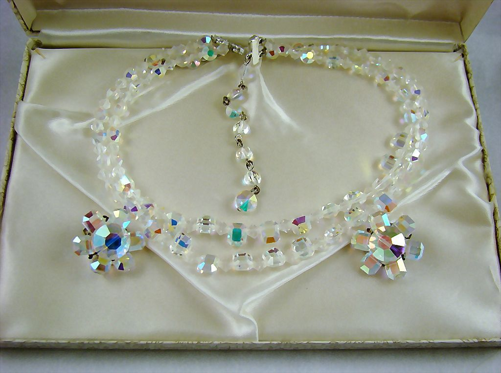 Spectacular ROCK CRYSTAL Evening Northern Lights Demi Parure
