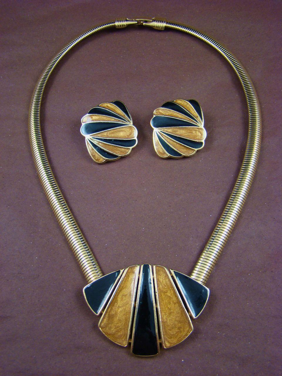 Classic Trifari Gold and Black Enamel Demi Parure
