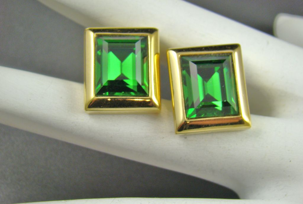 Older Swarovski Emerald Crystal Earrings