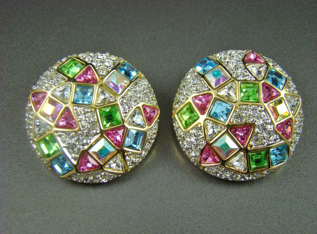 "Sparkling Rhinestone ""Confetti"" Style Evening Earrings"