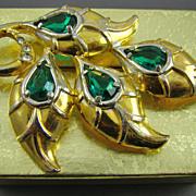 1930s Gold Tone Emerald Rhinestone Brooch