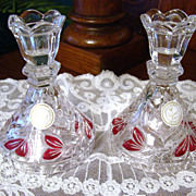 German Lead Crystal Ruby Flashed Candle Holders