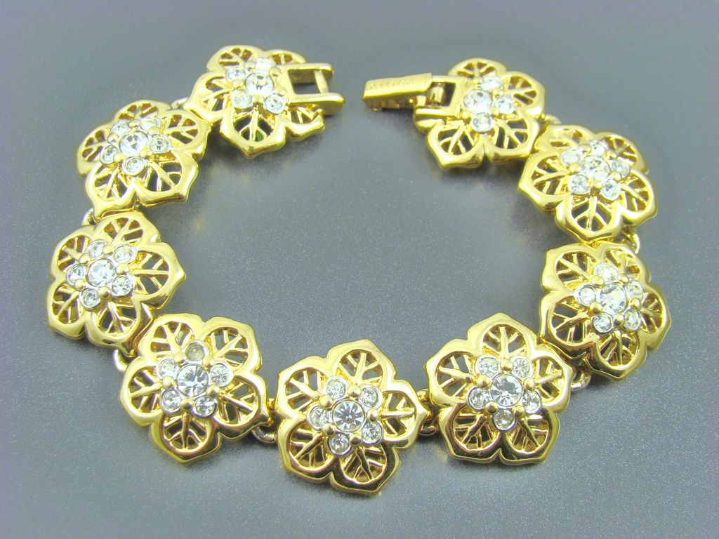 Nina Ricci Gold Plated Clear Chaton Evening Bracelet