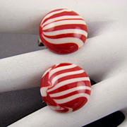 Red and White Peppermint Striped Button Earrings