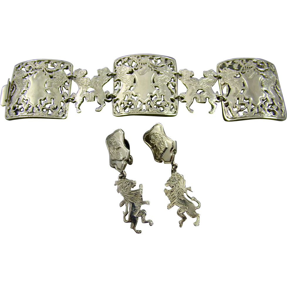Heraldic Lion & Knight Crest Bracelet & Earrings ~ Rare Couture ~ Lucien Piccard