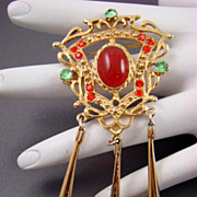 Large Asian Dangle Brooch with Glass Cabochon