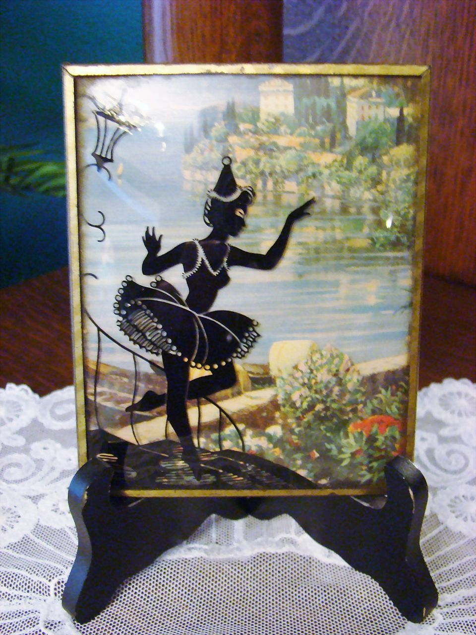 Silhouette/Reverse Painted Glass Ballerina
