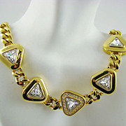 Exquisite Swarovski Crystal and Gold Plated Evening Necklace ~ S.A.L.