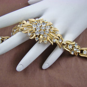 Spectacular Crown Trifari Rhinestone Gold Plated Evening Bracelet