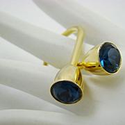 Gold Tone 1950s Key Ring with Montana Blue Rhinestones