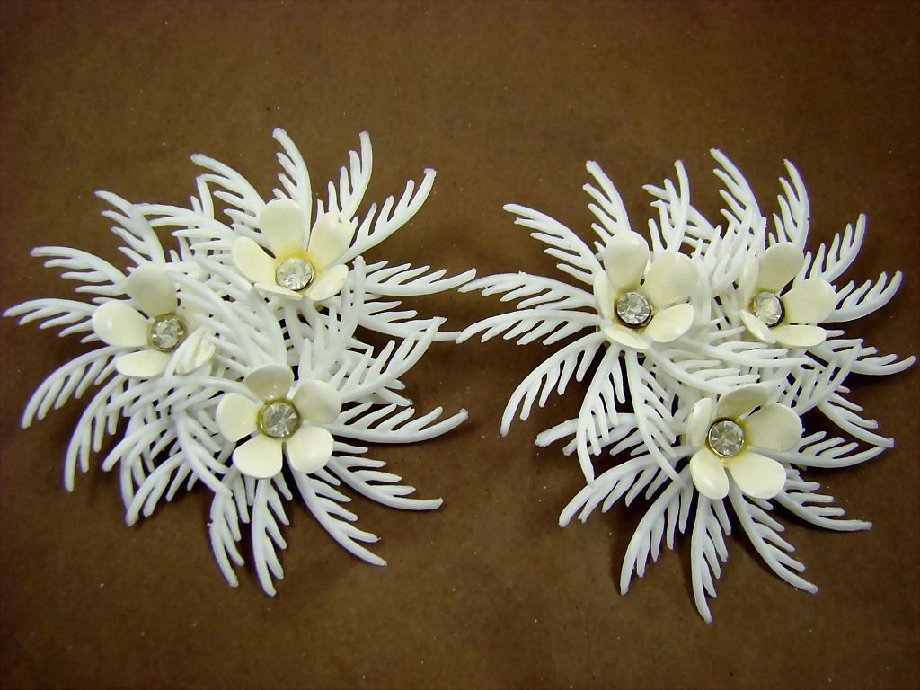 1960's White Plastic Feathery Earrings with Rhinestones