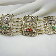 900 Silver South American Tribal Bracelet