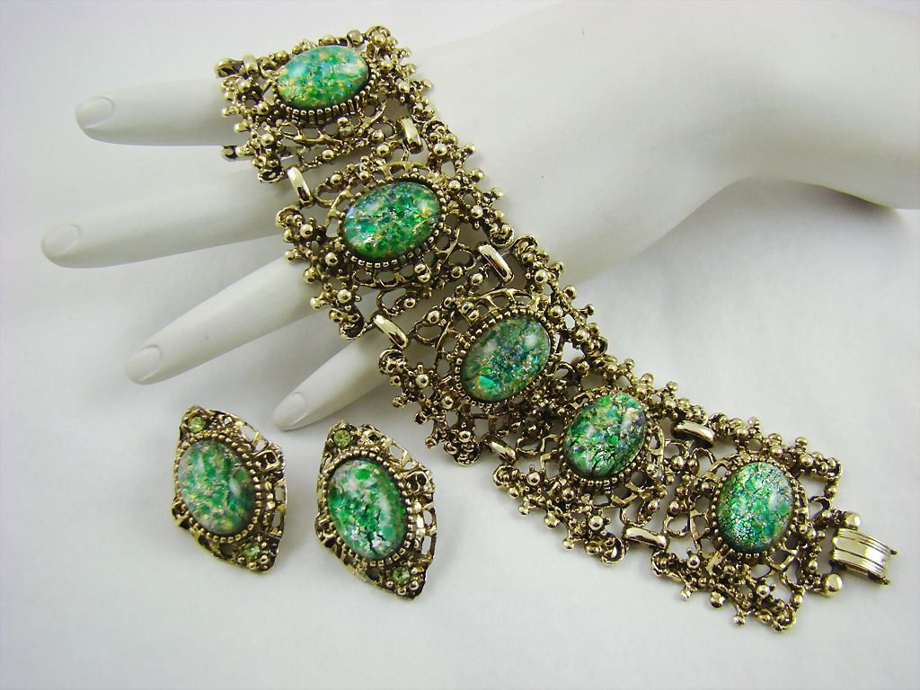Vintage Peacock Foil Glass Wide Panel Bracelet and Earrings