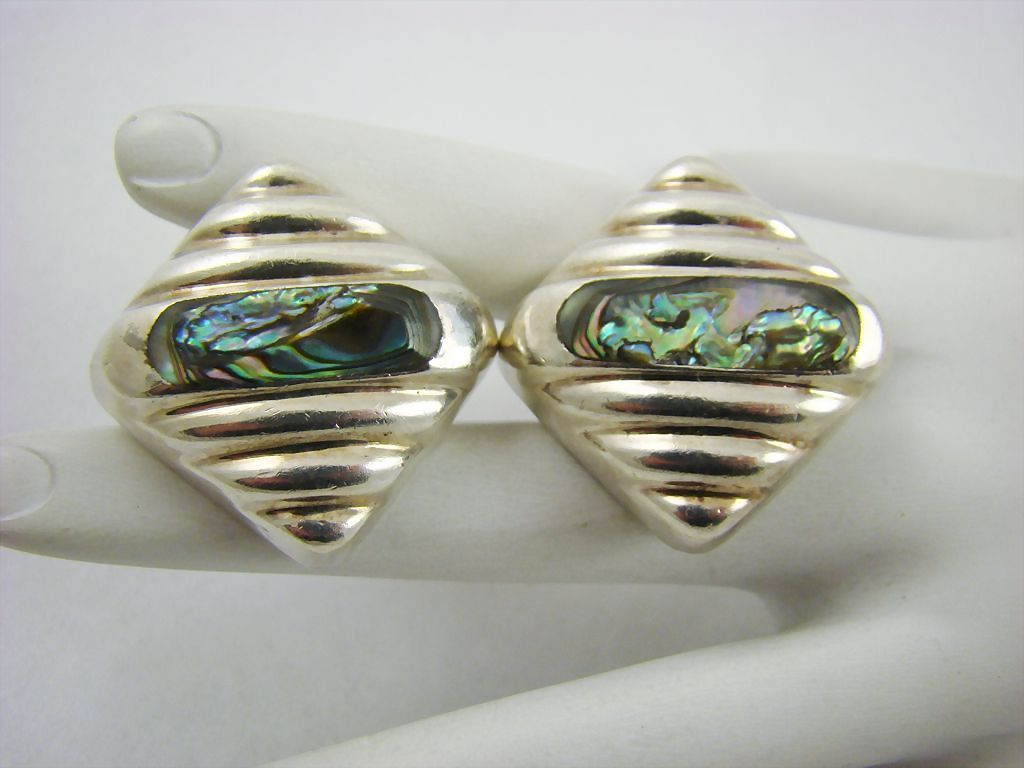 Mexico Sterling and Abalone Earrings