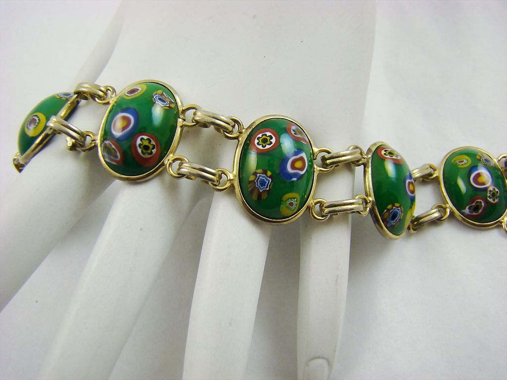 Emerald Green Art Glass Bracelet Millefiori Style From