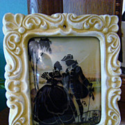 Framed Silhouette Reverse Painted Glass ~ Colonial Couple