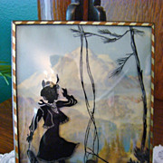 Swiss Alps Yodeling Campfire Girl ~ Silhouette Reverse Painting