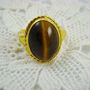 Rare Unsigned Vendome Tiger's Eye Ring ~ Patent No. 2,961,855