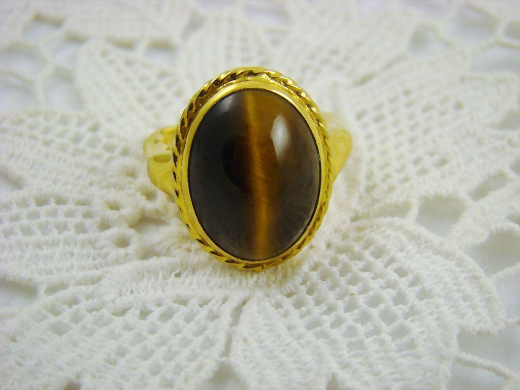 Rare Unsigned Vendome Tiger's Eye Ring ~ Patent No. 2,961,855