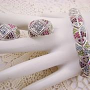 Vintage Rhodium Plated Swarovski Crystal Demi Parure by D'Orlan
