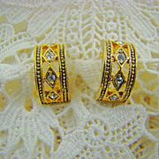 Gold Tone and Rhinestone Half Hoop Earrings