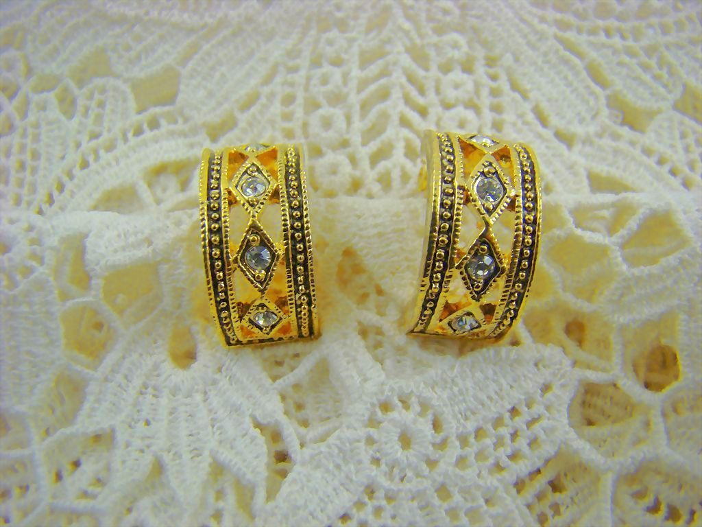 Gold Tone and Rhinestone Half Hoop Earrings