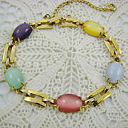 Beautiful Pastel Moonglow Glass Cabochon Bracelet