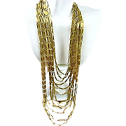 Art Nouveau Style Design Reinad 13 Strand Gold Tone Swagged Necklace