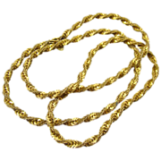 Miriam Haskell Twisted Double Chain Russian Gold Plated Necklace