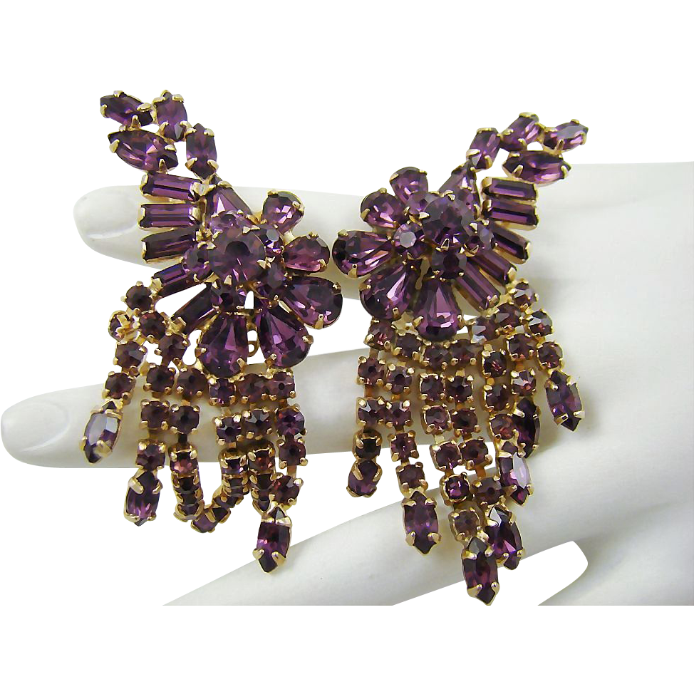 Ann-Vien Rare Exquisite Amethyst Rhinestone Runway Earrings