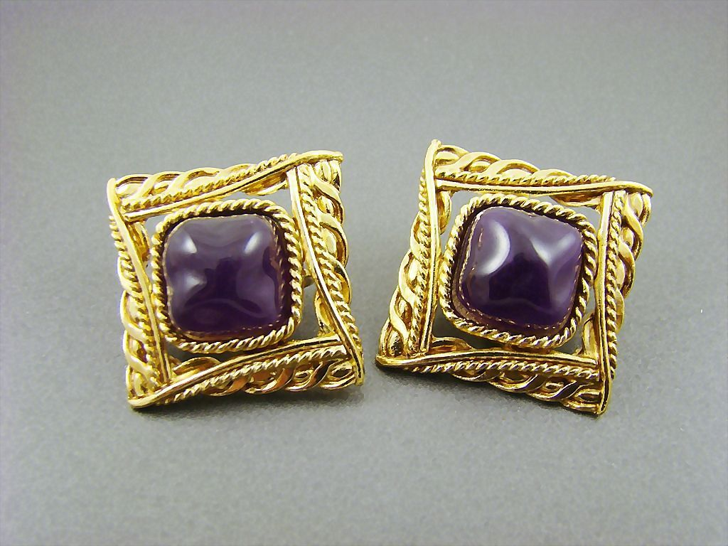 Givenchy Dark Plum Baroque Cabochon Gold Plated Earrings ~ New York ~ Paris