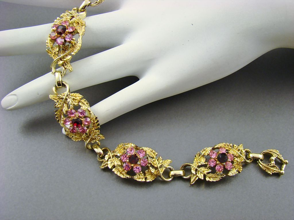 Sparkling Rhinestone and Gold Plated Bracelet by Coro