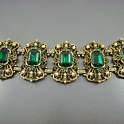 Spectacular Victorian Revival Emerald Glass and Imitation Pearl Bracelet