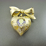 Coro Pegasus Puffy Heart Brooch ~ Citrine Aurora Borealis Rhinestones