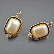 Imitation Pearl Earrings with Rhinestone