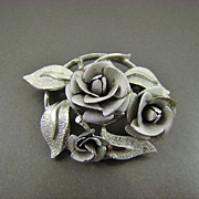 Satin Finished Silver Tone Rose Brooch