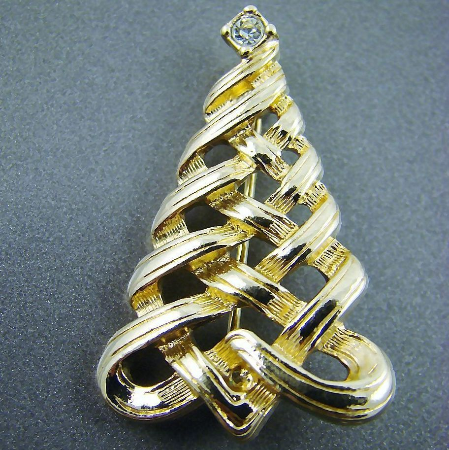 Designer Signed Christmas Tree Brooch with Rhinestone