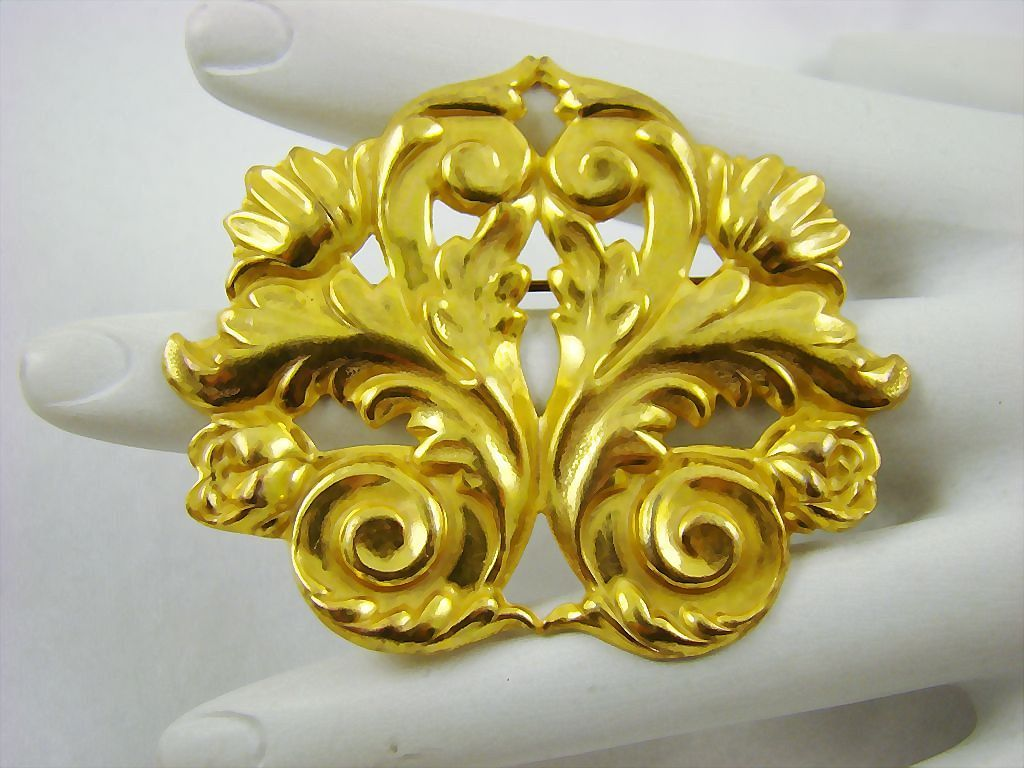 Signed Miriam Haskell Russian Gold Plated Repousse Brooch