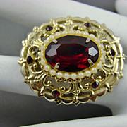 Coro Pegasus Adolf Katz Design Ruby Red Rhinestone Brooch