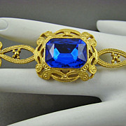 London Blue Glass and Gold Tone Bar Style Brooch