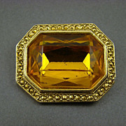 Honey Amber and Comet Aurum Stone Brooch