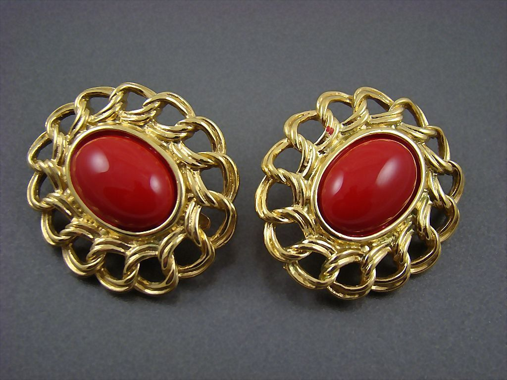 Spectacular 1960s Trifari Lipstick Red Glass Cabochon Earrings