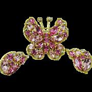 La Roco Pink Rhinestone Butterfly Demi Parure ~ Mint
