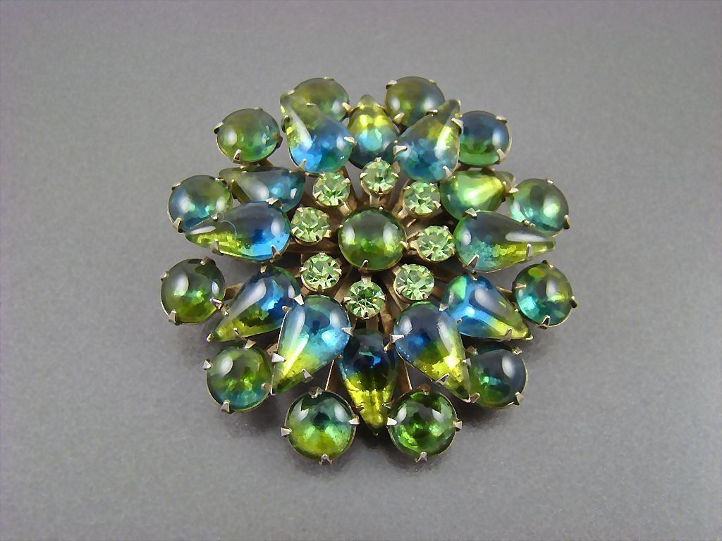 Stunning Blue Green Sabrina Rhinestone Tiered Brooch