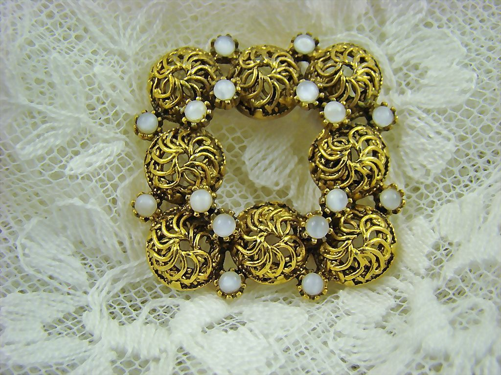 Square Antiqued Gold Tone  and White Moonstone Brooch