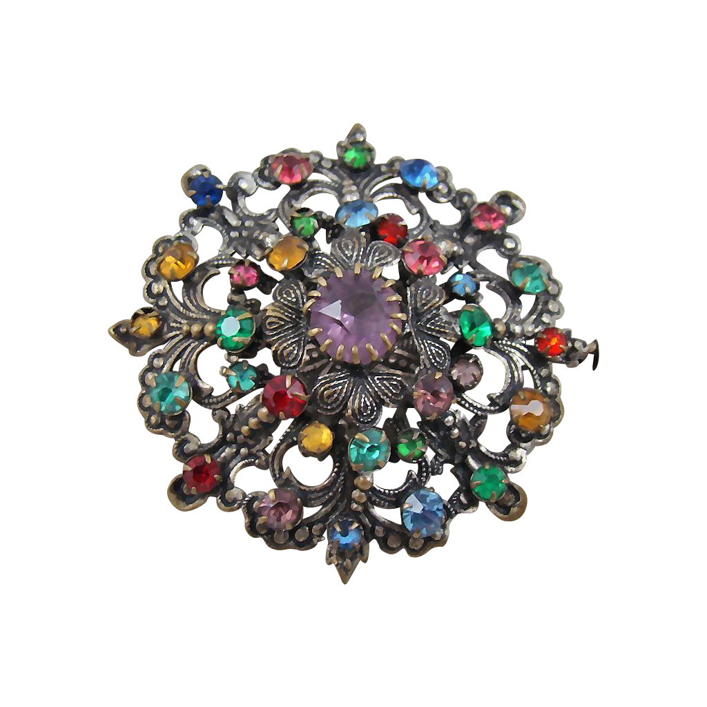 European Art Nouveau Multi-Colored Rhinestone Brooch