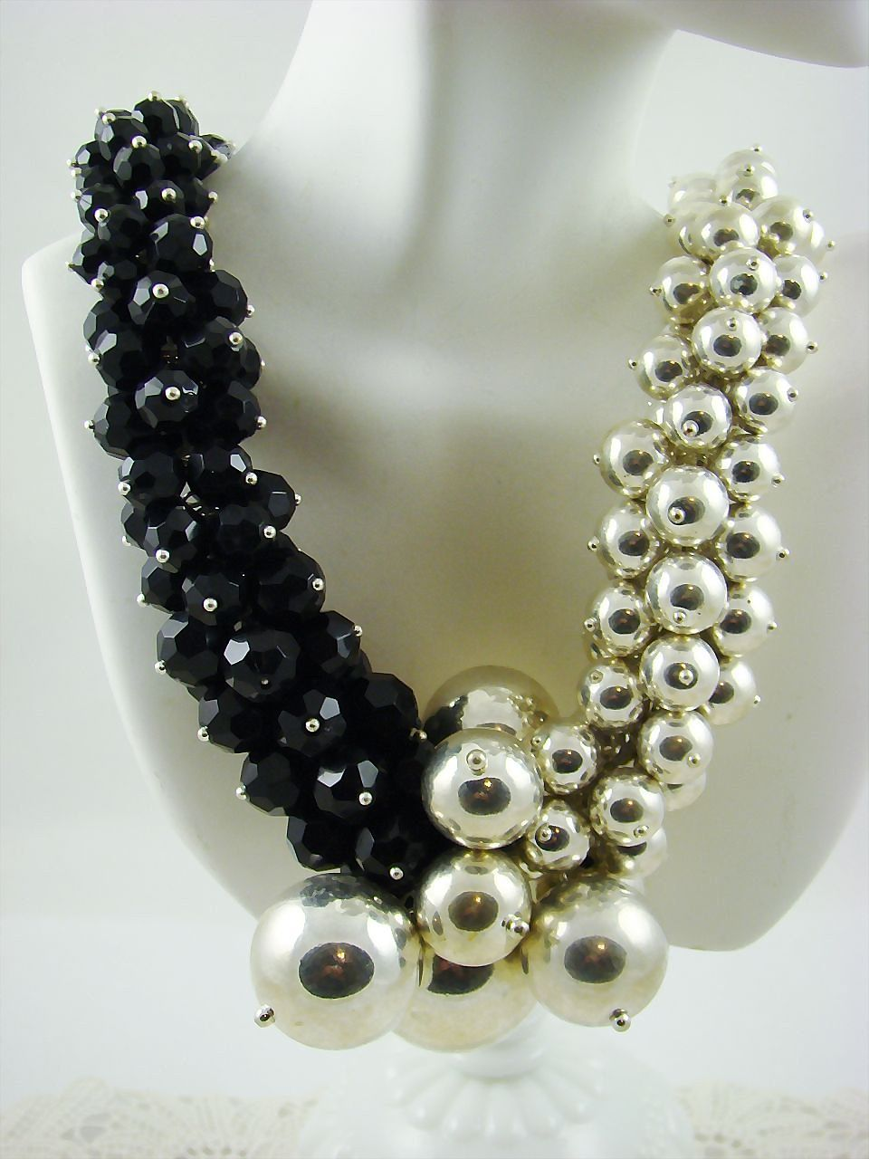 Classic Runway Necklace in Silver Tone and Black Beads